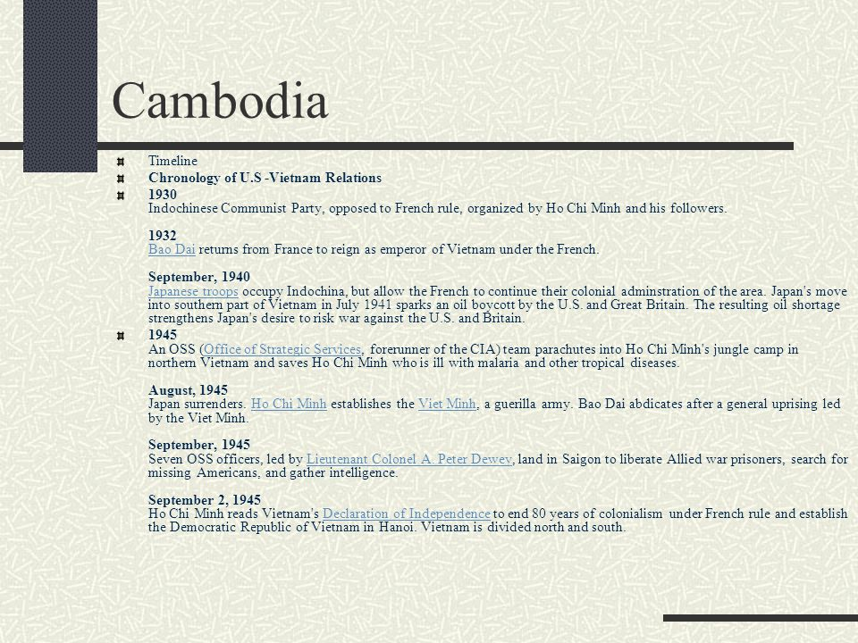 Cambodia Timeline Chronology of U.S -Vietnam Relations
