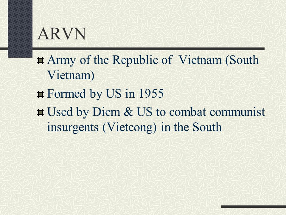 ARVN Army of the Republic of Vietnam (South Vietnam)