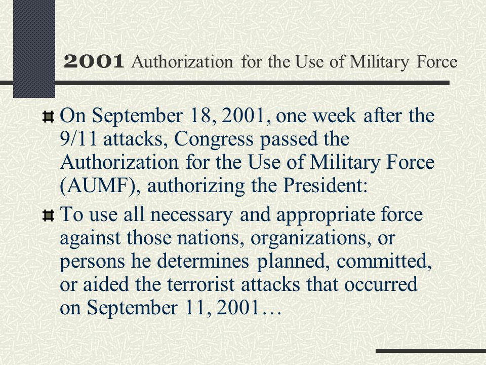 2001 Authorization for the Use of Military Force