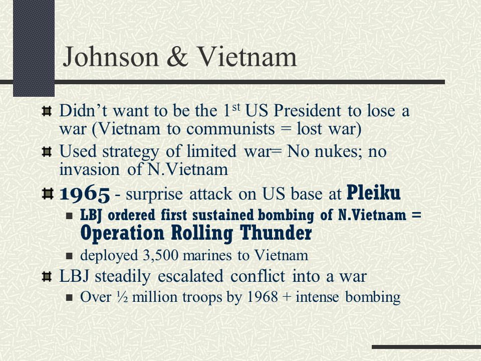 Johnson & Vietnam 1965 - surprise attack on US base at Pleiku