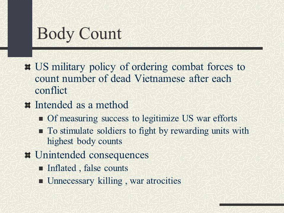 Body Count US military policy of ordering combat forces to count number of dead Vietnamese after each conflict.