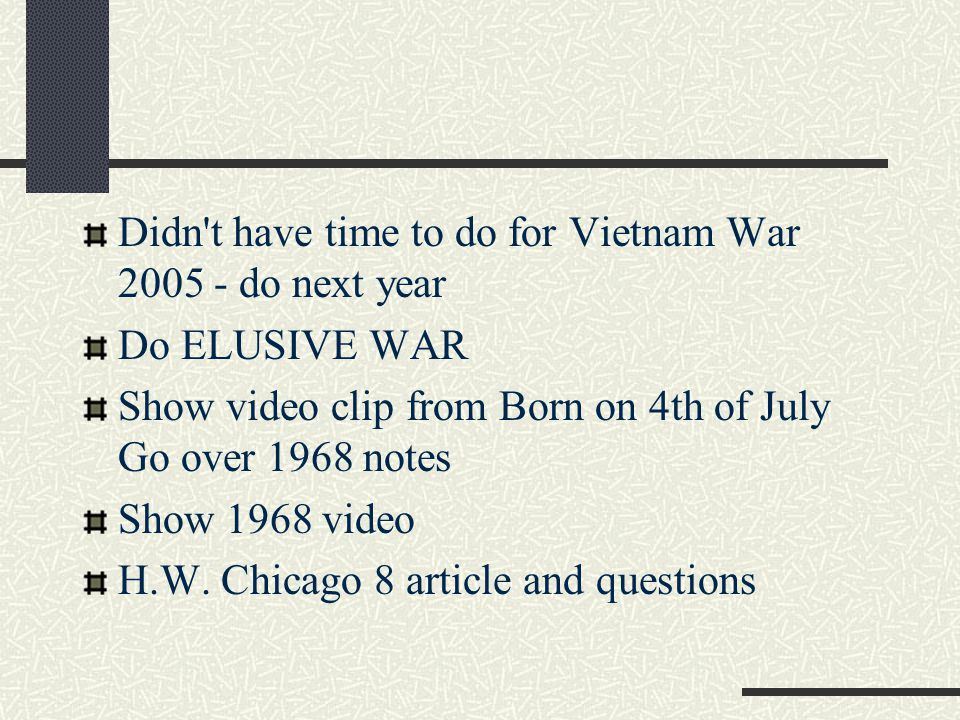 Didn t have time to do for Vietnam War 2005 - do next year