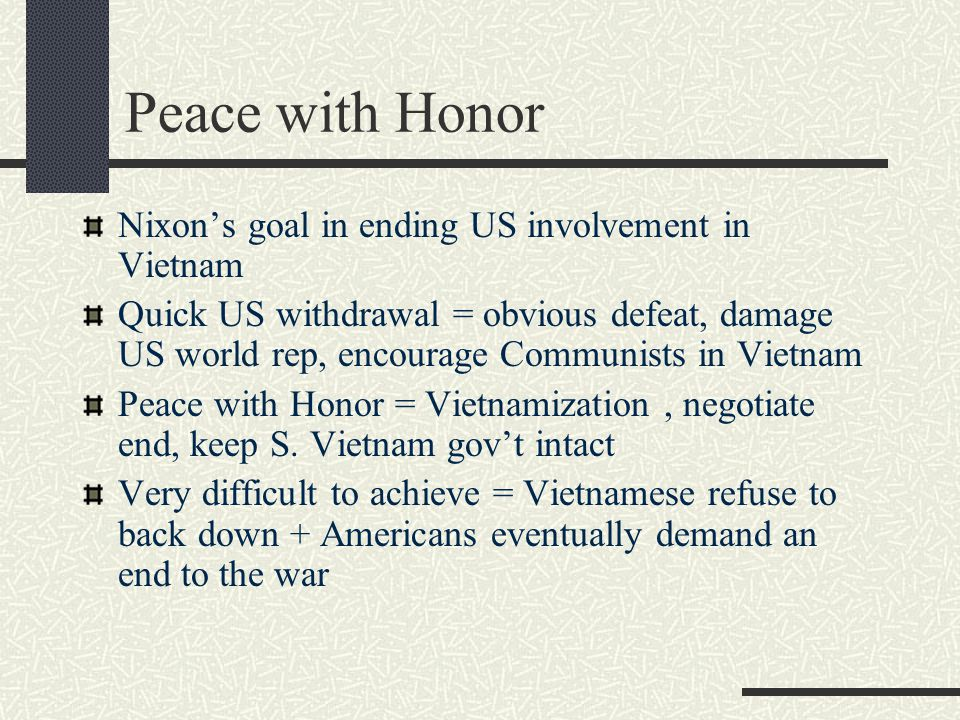 Peace with Honor Nixon's goal in ending US involvement in Vietnam
