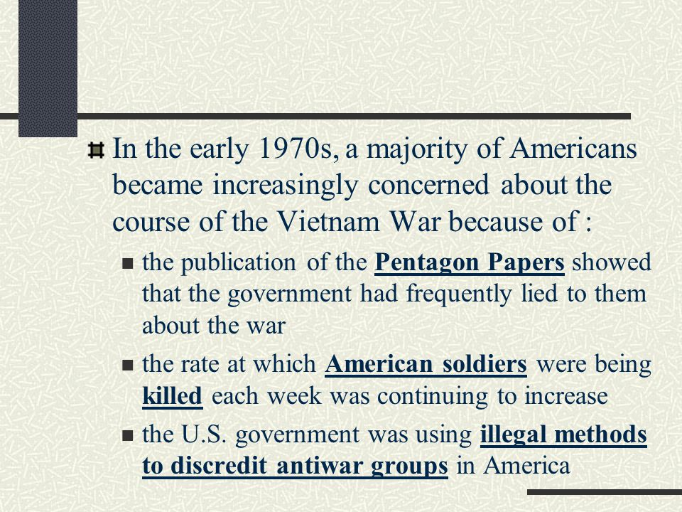In the early 1970s, a majority of Americans became increasingly concerned about the course of the Vietnam War because of :