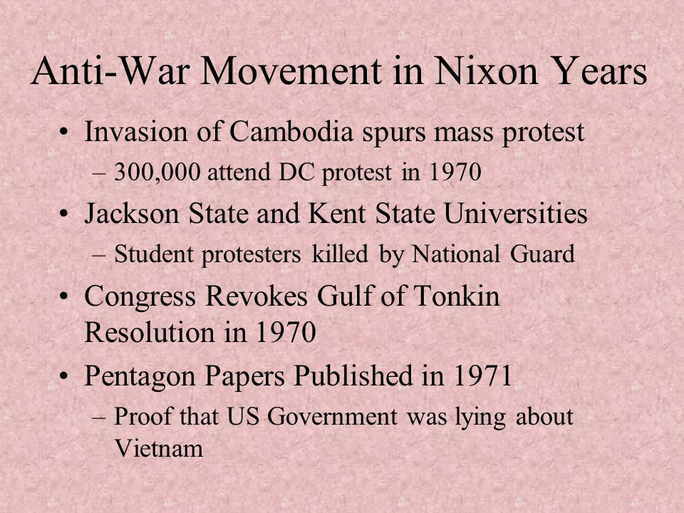 Anti-War Movement in Nixon Years