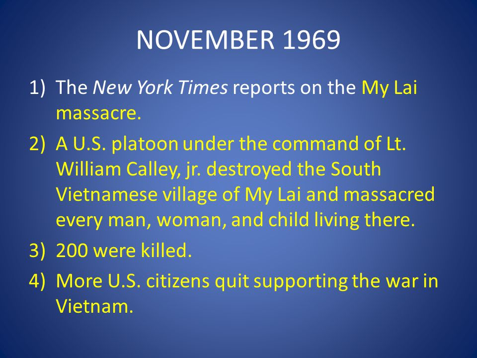 NOVEMBER 1969 The New York Times reports on the My Lai massacre.