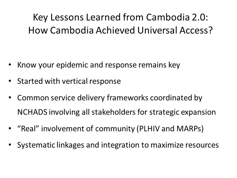 Key Lessons Learned from Cambodia 2