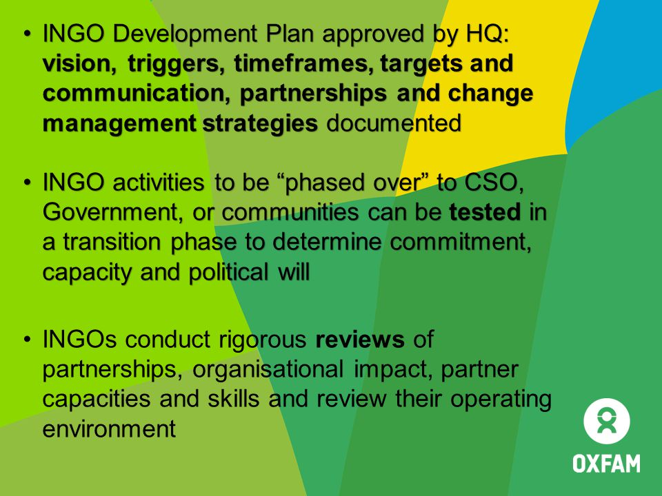 INGO Development Plan approved by HQ: vision, triggers, timeframes, targets and communication, partnerships and change management strategies documented