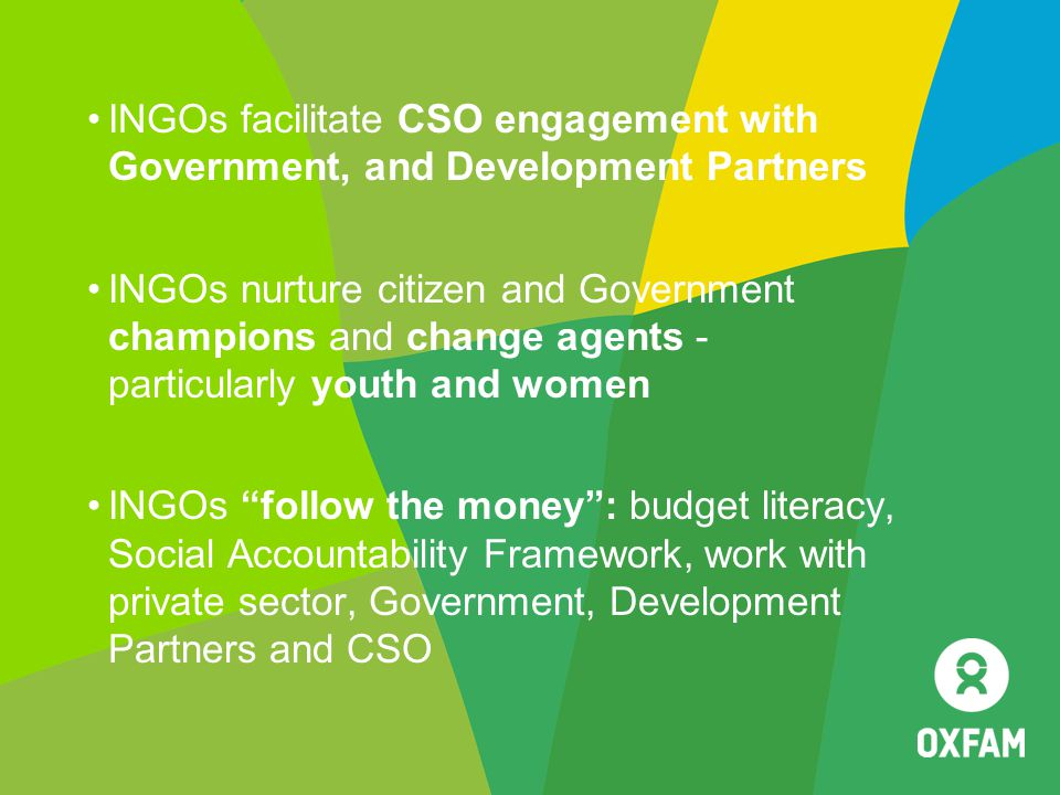 INGOs facilitate CSO engagement with Government, and Development Partners