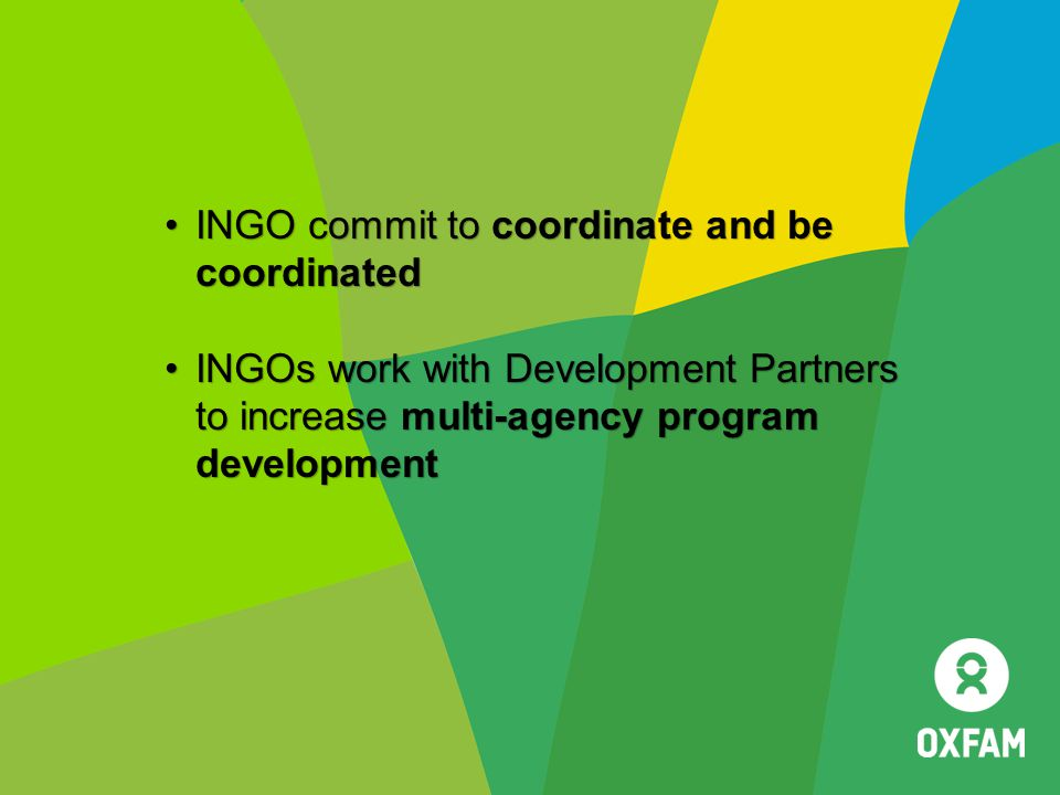 INGO commit to coordinate and be coordinated
