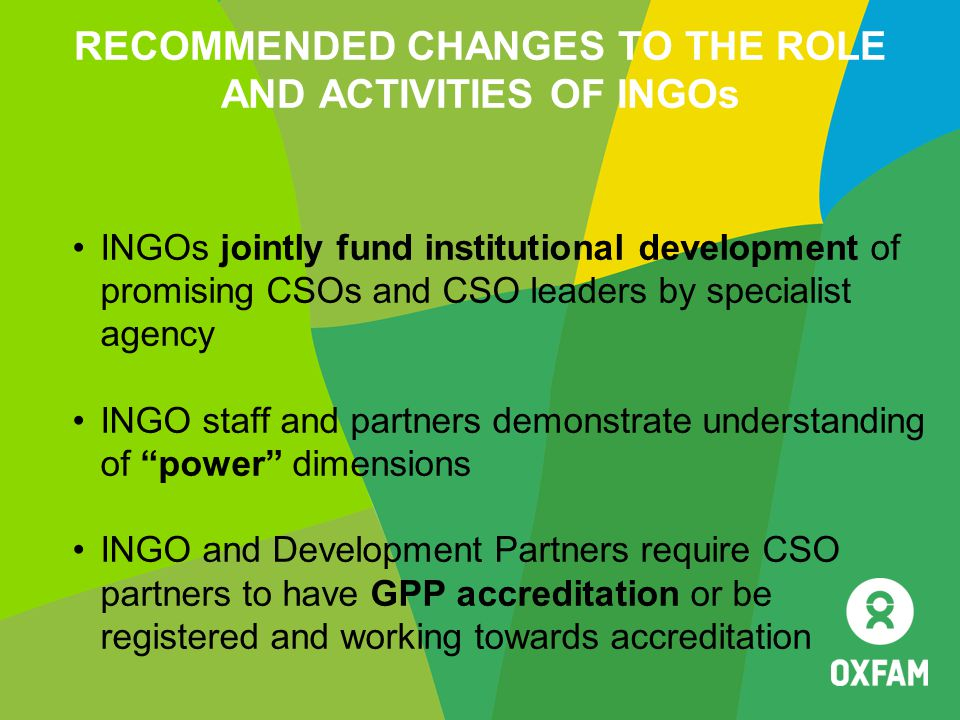 RECOMMENDED CHANGES TO THE ROLE AND ACTIVITIES OF INGOs