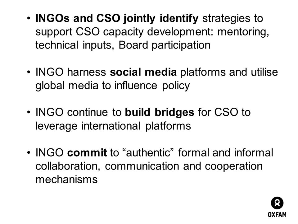 INGOs and CSO jointly identify strategies to support CSO capacity development: mentoring, technical inputs, Board participation
