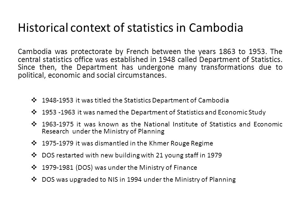Historical context of statistics in Cambodia