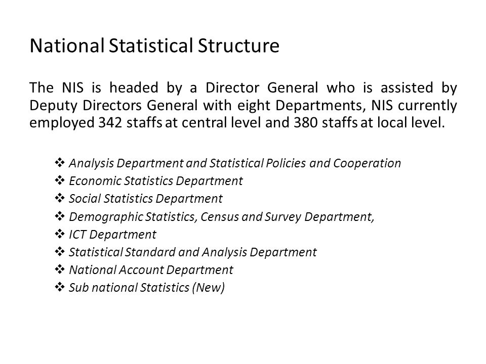 National Statistical Structure