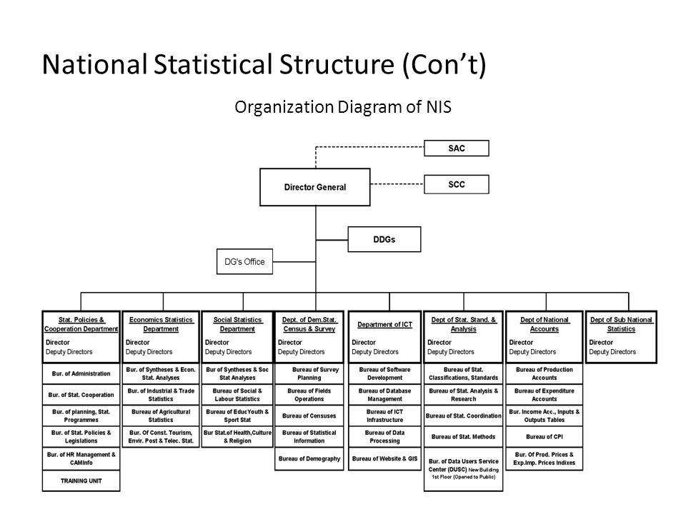National Statistical Structure (Con't)