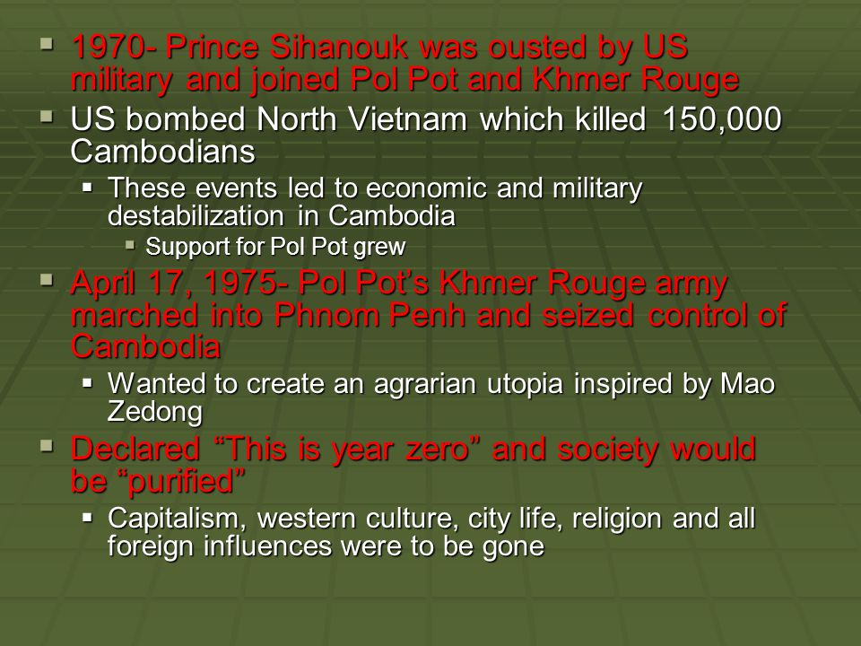US bombed North Vietnam which killed 150,000 Cambodians