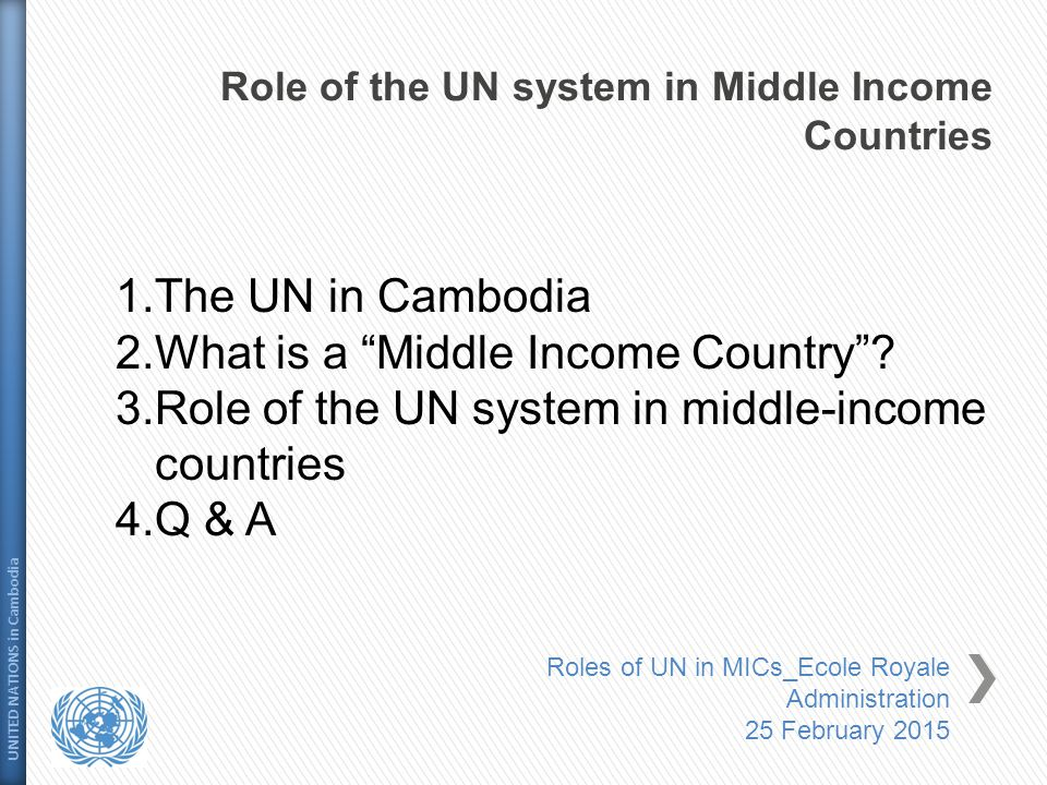 Role of the UN system in Middle Income Countries