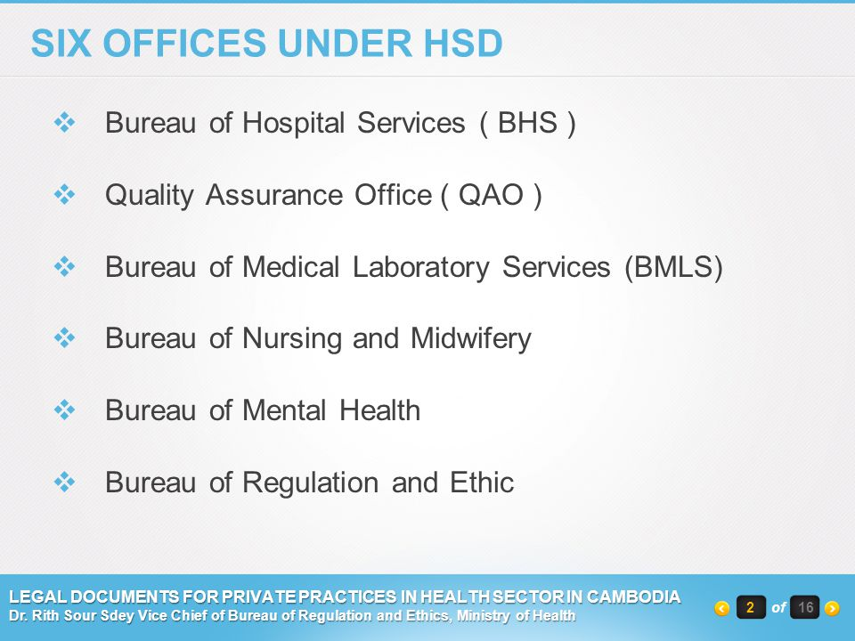SIX OFFICES UNDER HSD Bureau of Hospital Services ( BHS )