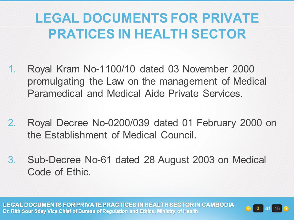 LEGAL DOCUMENTS FOR PRIVATE PRATICES IN HEALTH SECTOR