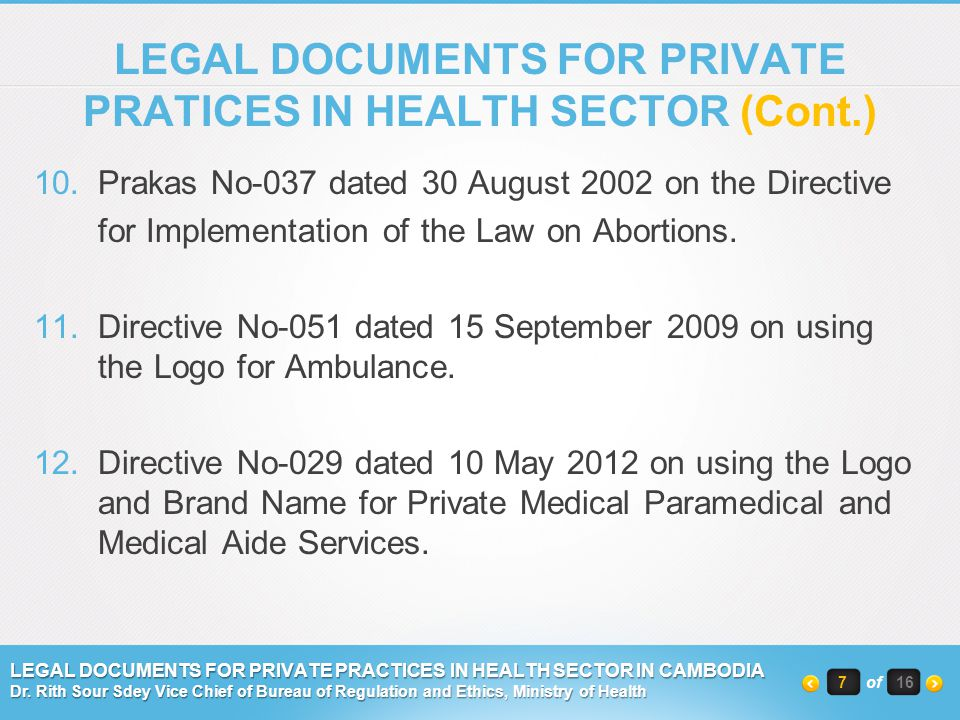 LEGAL DOCUMENTS FOR PRIVATE PRATICES IN HEALTH SECTOR (Cont.)