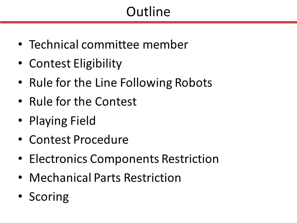 Outline Technical committee member Contest Eligibility