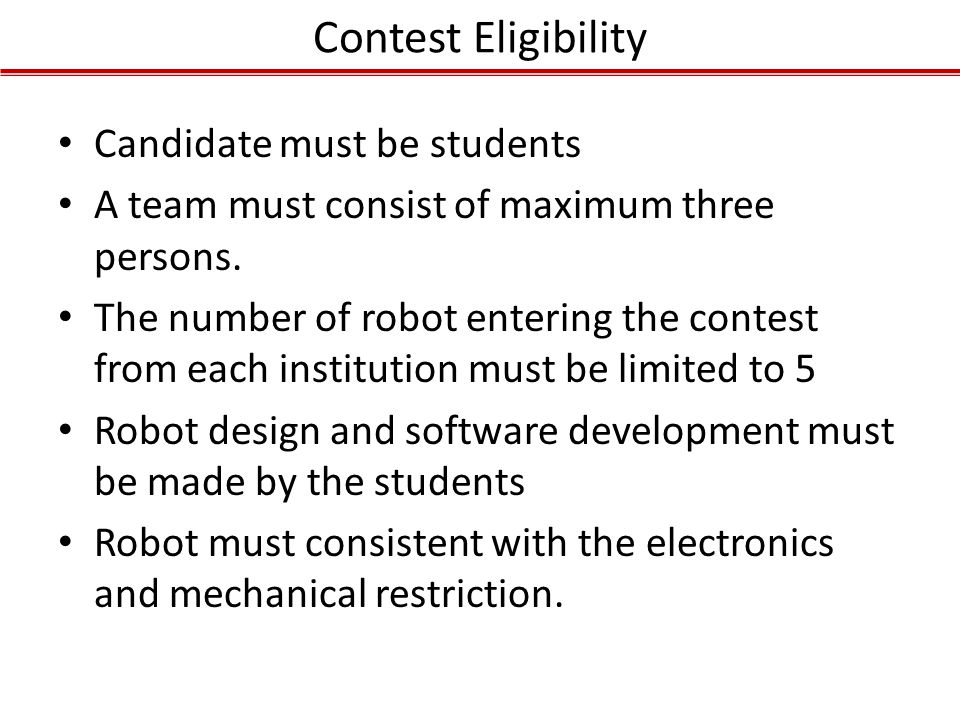 Contest Eligibility Candidate must be students