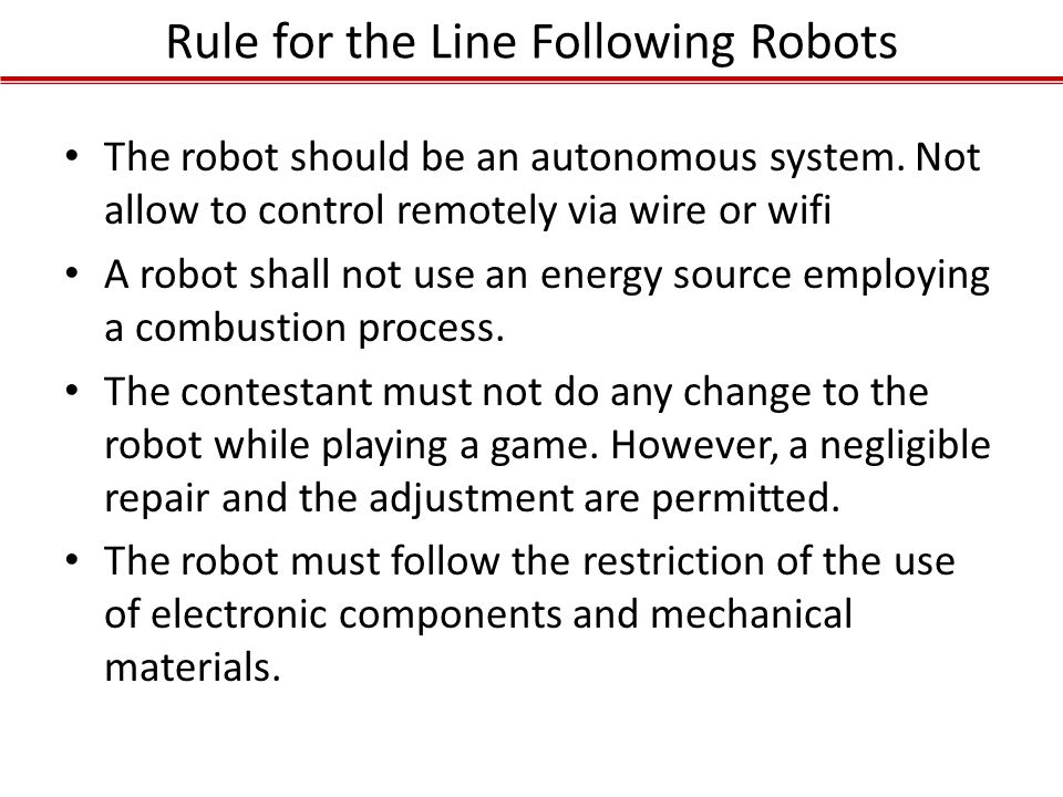 Rule for the Line Following Robots