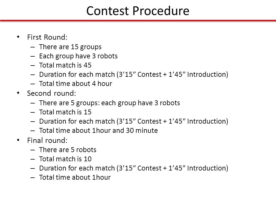Contest Procedure First Round: Second round: Final round: