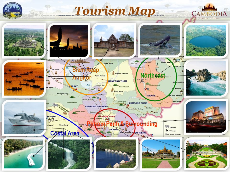 Tourism Map Siem Reap Angkor Northeast Phnom Penh & Surrounding