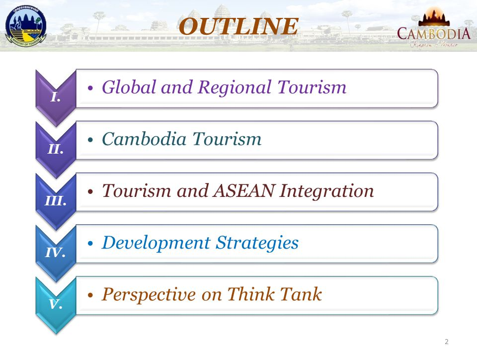 OUTLINE Global and Regional Tourism Cambodia Tourism