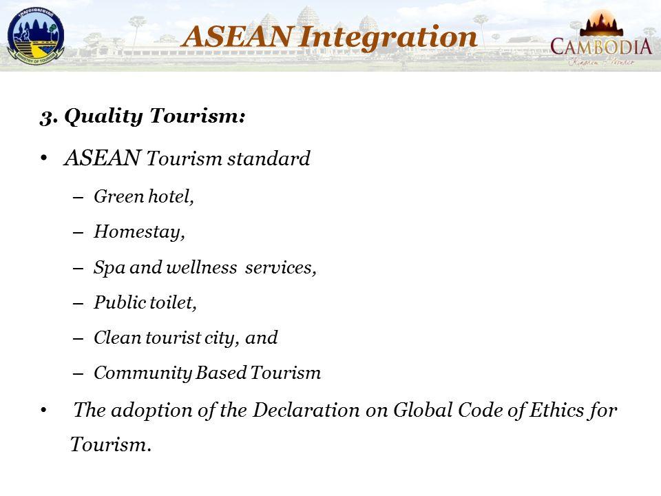ASEAN Integration ASEAN Tourism standard 3. Quality Tourism: