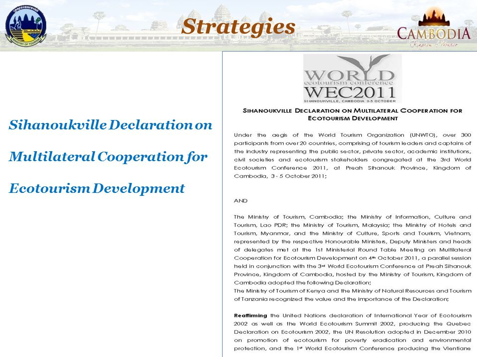 Strategies Sihanoukville Declaration on Multilateral Cooperation for Ecotourism Development