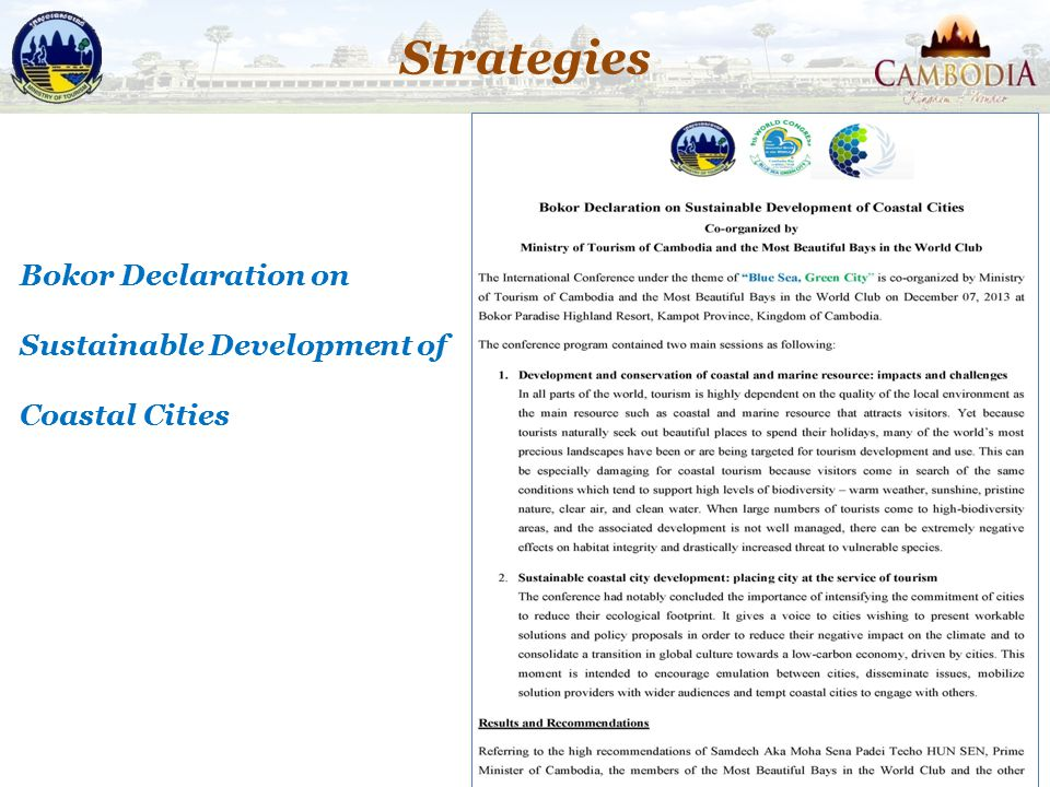 Strategies Bokor Declaration on Sustainable Development of Coastal Cities