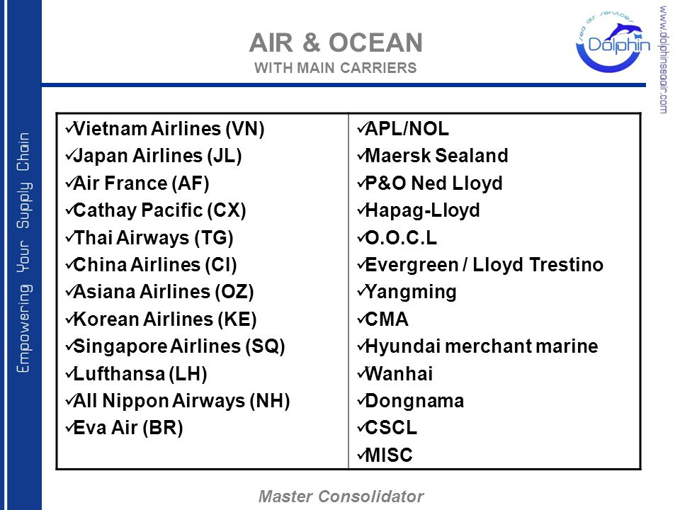 AIR & OCEAN WITH MAIN CARRIERS