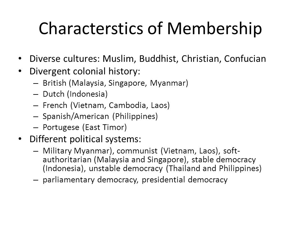 Characterstics of Membership
