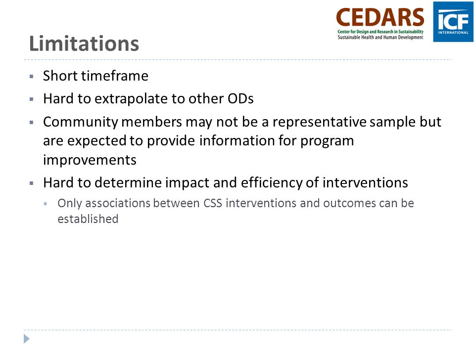 Limitations Short timeframe Hard to extrapolate to other ODs