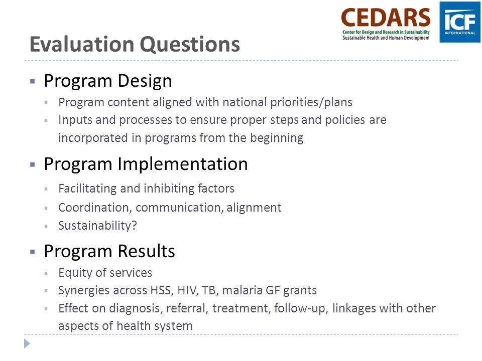 Evaluation Questions Program Design Program Implementation