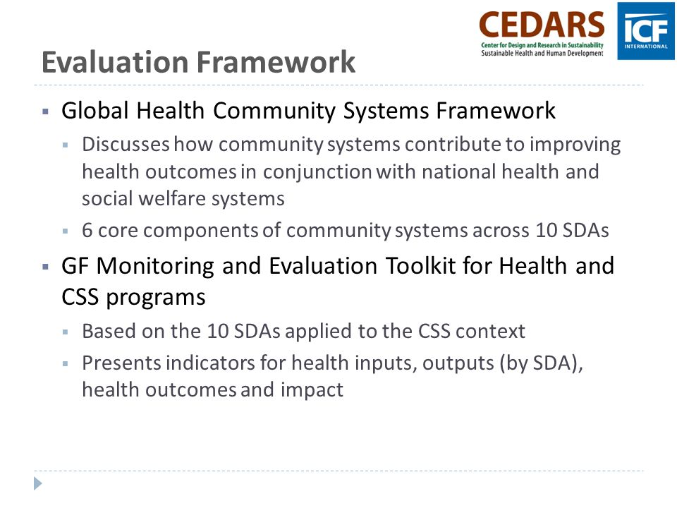 Evaluation Framework Global Health Community Systems Framework