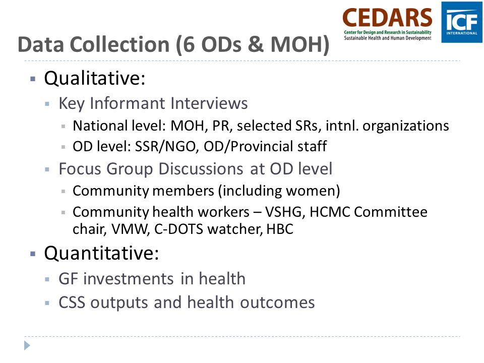 Data Collection (6 ODs & MOH)