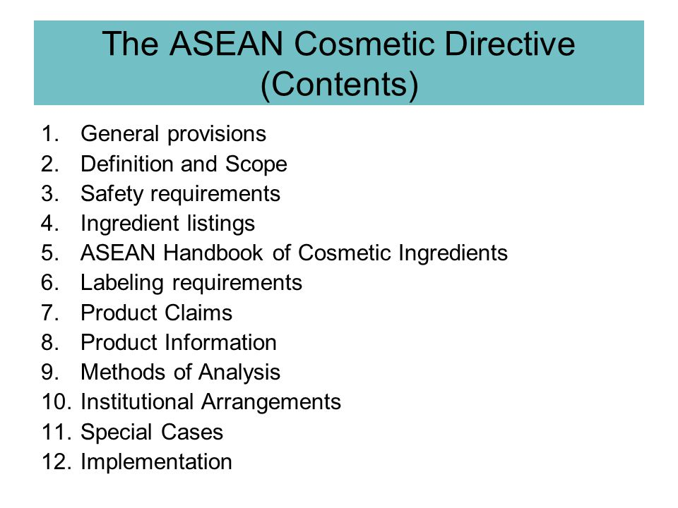 The ASEAN Cosmetic Directive (Contents)