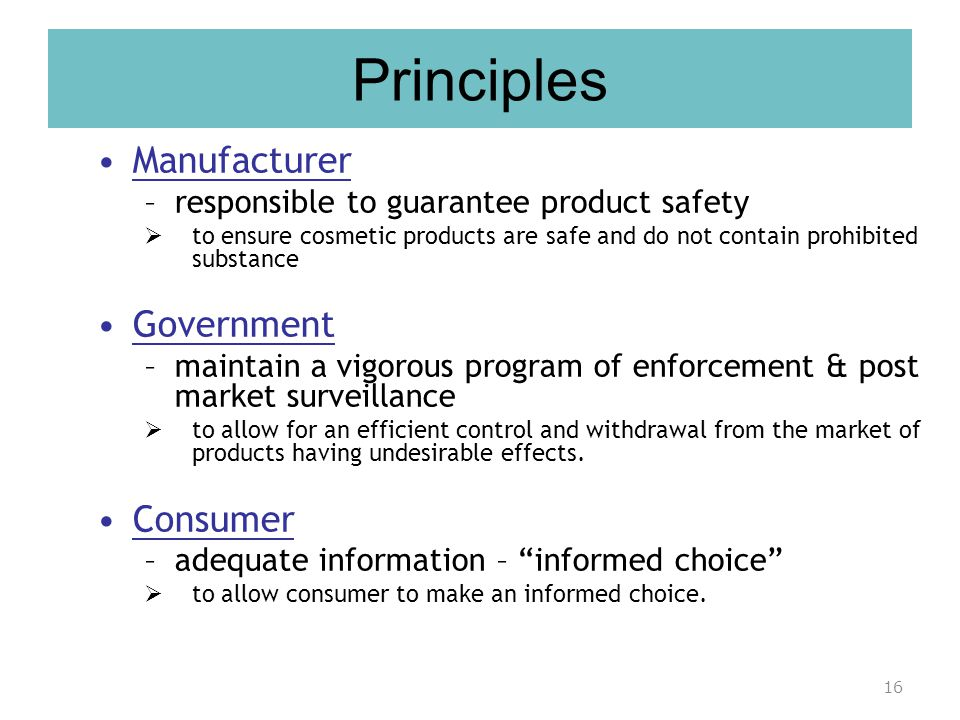 Principles Manufacturer Government Consumer