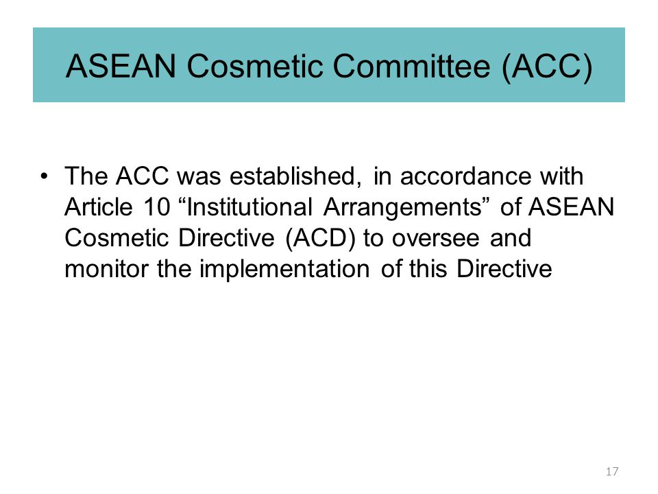 ASEAN Cosmetic Committee (ACC)
