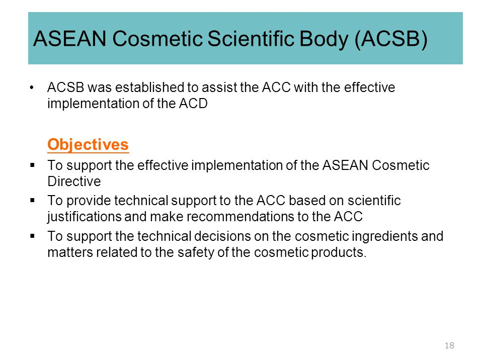 ASEAN Cosmetic Scientific Body (ACSB)