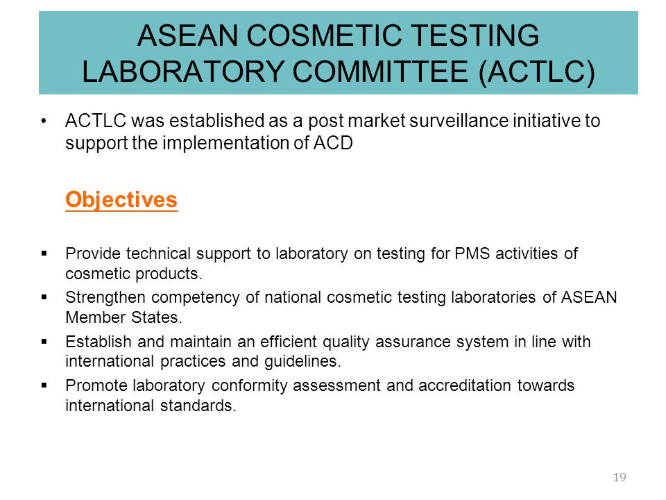 ASEAN COSMETIC TESTING LABORATORY COMMITTEE (ACTLC)