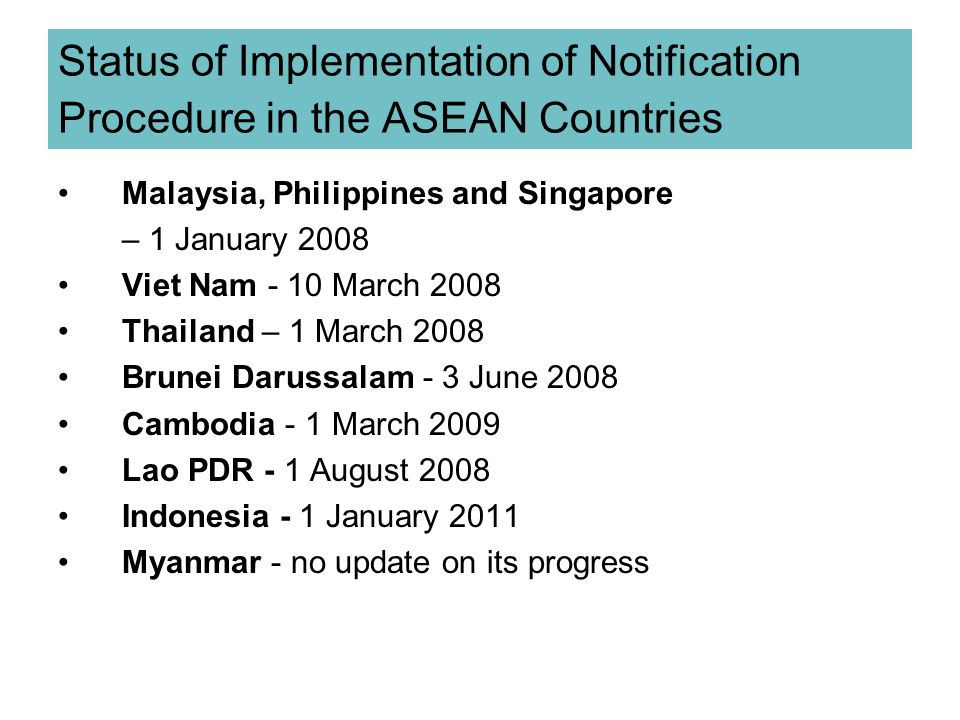Status of Implementation of Notification Procedure in the ASEAN Countries
