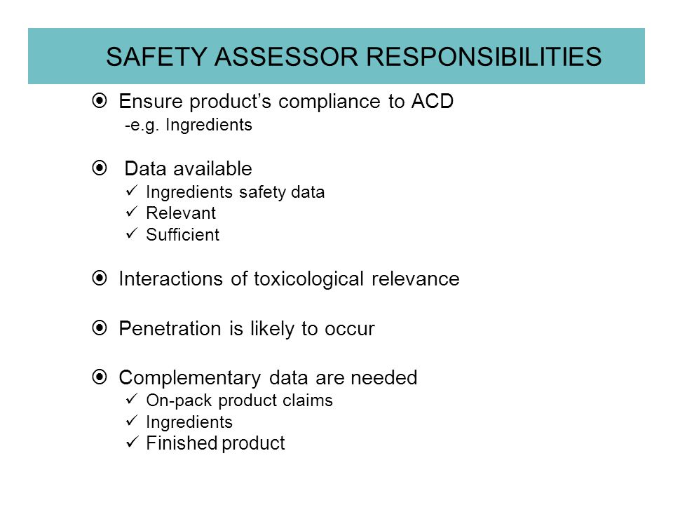 SAFETY ASSESSOR RESPONSIBILITIES