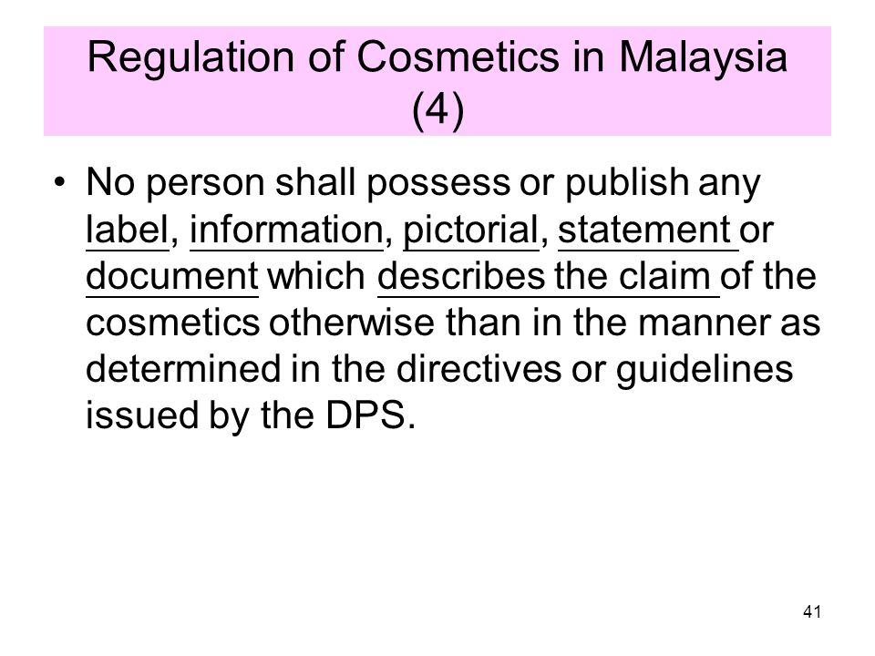 Regulation of Cosmetics in Malaysia (4)
