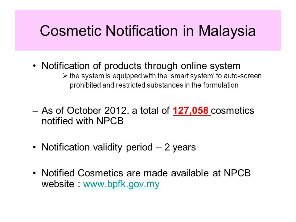 Cosmetic Notification in Malaysia