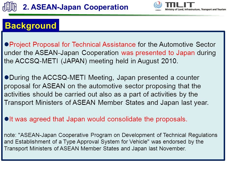 Background 2. ASEAN-Japan Cooperation