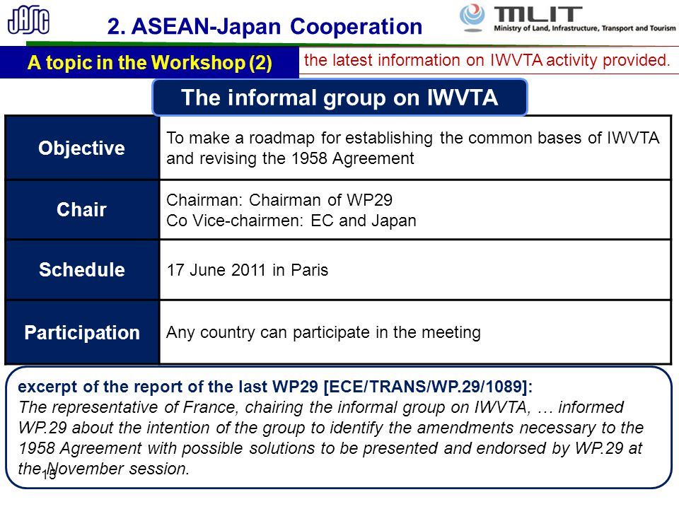 2. ASEAN-Japan Cooperation The informal group on IWVTA